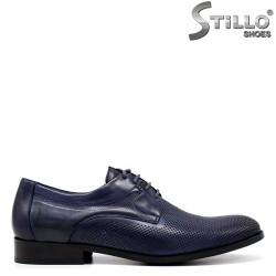 Сини официални обувки от естествена кожа - 34864
