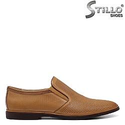 Бежови обувки  от естествена кожа - 34865