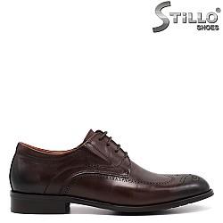 Кафяви кожени мъжки обувки - 34874