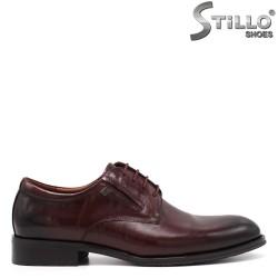Мъжки бордо обувки от естествена кожа - 34877