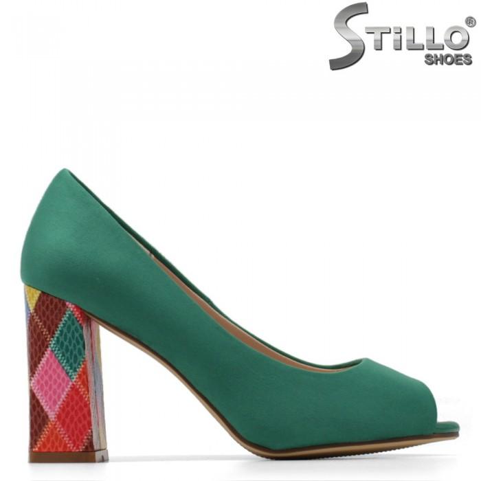 Модни обувки на висок ток в цвят мента - 34886