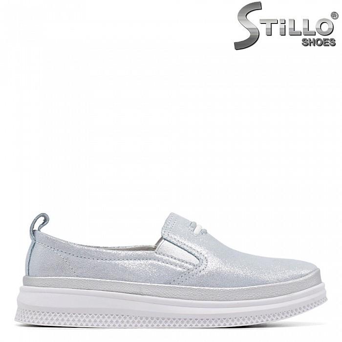 Ежедневни обувки в син брокат - 34898
