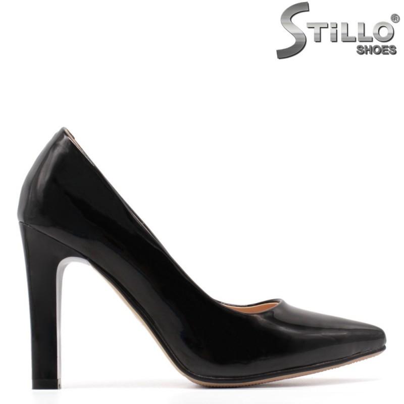 33,34,35 размер лачени черни обувки на ток - 34904