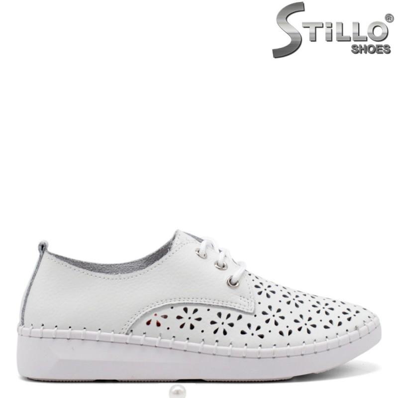 Бели ежедневни удобни обувки с връзки - 34912