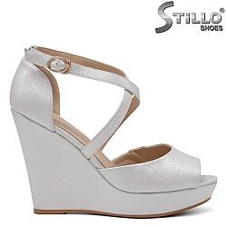 Седефени дамски сандали на платформа - 34942