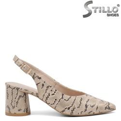 Дамски обувки естествена кожа със змийска щампа - 34947