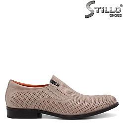 Мъжки обувки от естествена бежова кожа - 34959