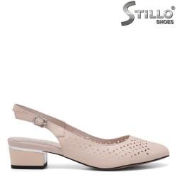 Летни бежови обувки от естествена кожа - 34965