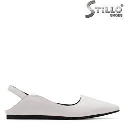 Бели дамски обувки естествена кожа - 34977