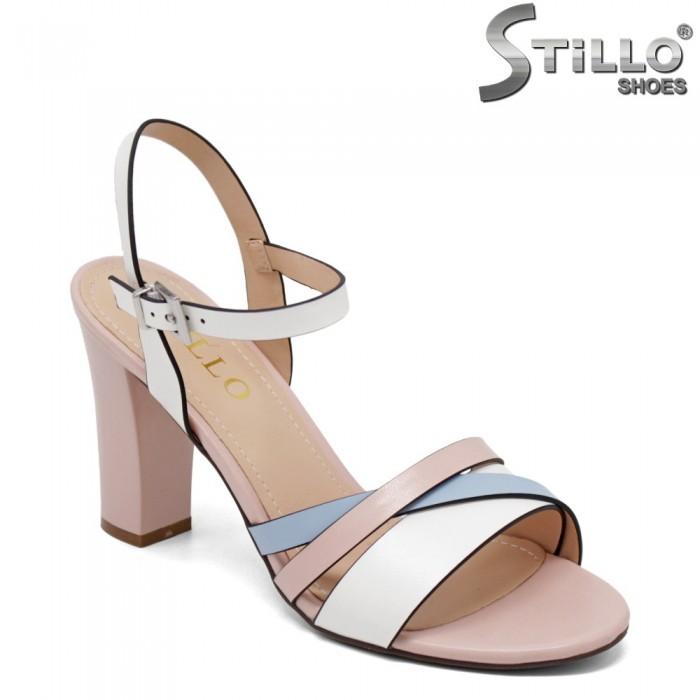 Стилни сандали с бели, розови и сини ленти - 34980