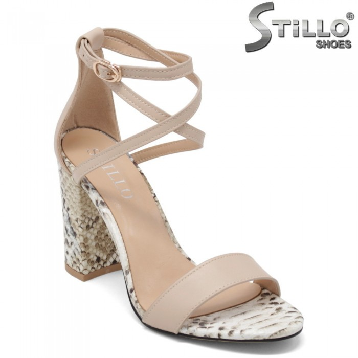 Бежови сандали с кръстосани каишки - 34988