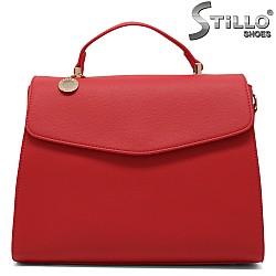 Стилна дамска чанта от червена кожа - 34991