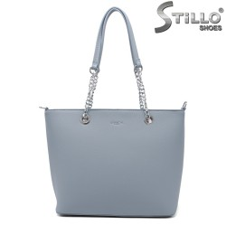 Синя дамска чанта с две дръжки - 35006