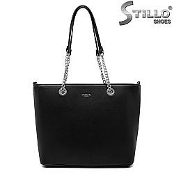 Дамска черна чанта с две дръжки - 35009