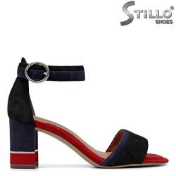 Стилни сандали TAMARIS в синьо и червено на ток - 35058