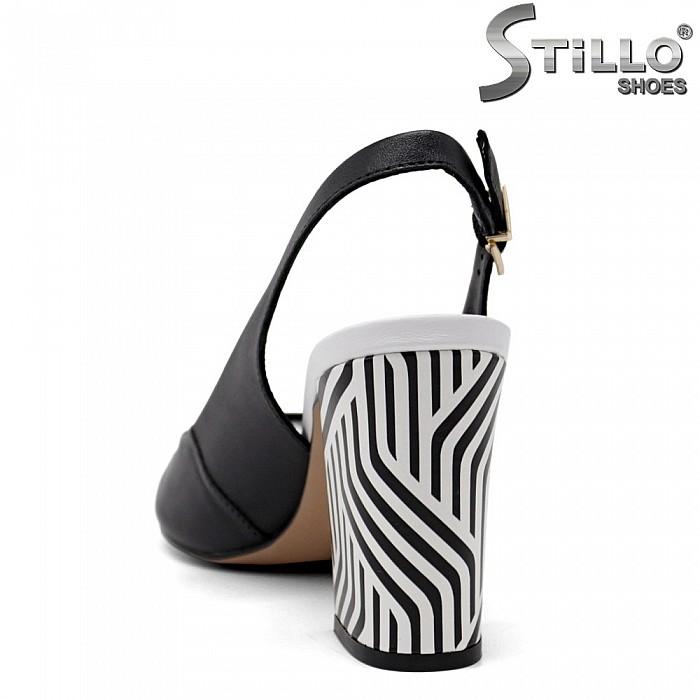 Дамски сандали със зебров ток от естествена кожа - 35082