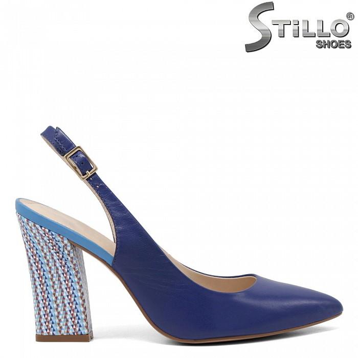 Сини сандали на висок цветен ток - 35090