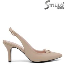 Дамски обувки с отворена пета на висок тънък ток - 35121