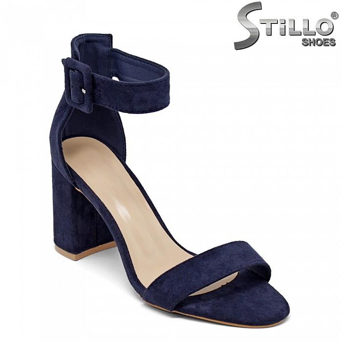 Дамски сандали в син велур - 35122