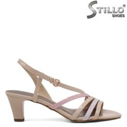 Дамски сандали с бежови, сиви и розови ленти - 35132
