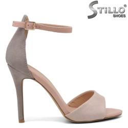 Дамски сандали в розов и сив велур на висок ток - 35134
