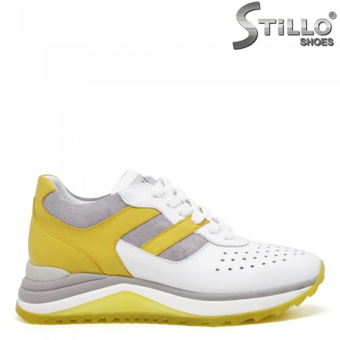 Спортни обувки естествена кожа в бяло, сиво и жълто - 35139