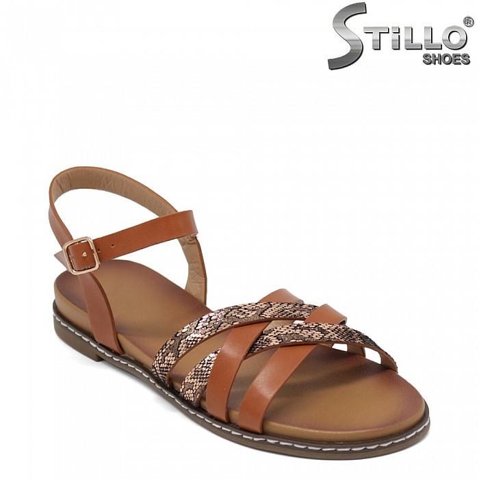 Римски сандали със змийски принт - 35177