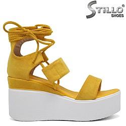 Жълти сандали на платформа - 35183