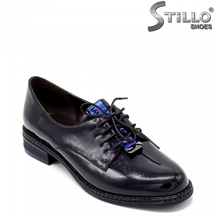 Тъмносини есенни обувки с връзки - 34669