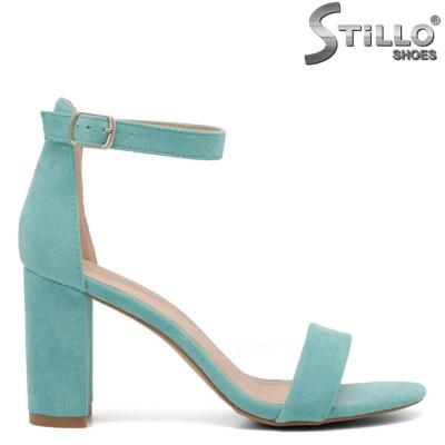 Велурени сандали в цвят мента на висок ток - 35030
