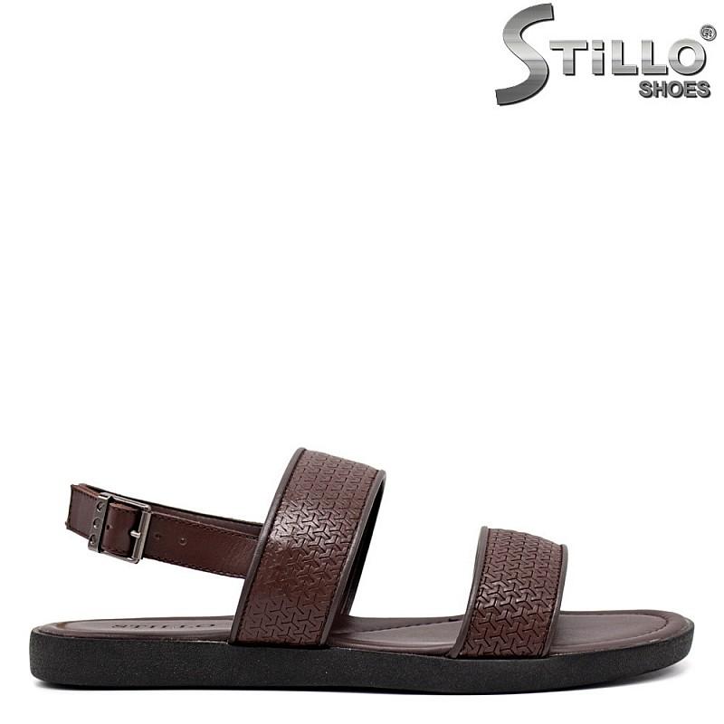 Кафяви мъжки сандали естествена кожа - 35166