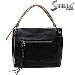 Дамска черна чанта с кафяви дръжки - 35211