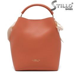 Дамска чанта в цвят праскова - 35220