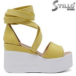 Жълти сандали на платформа - 35222