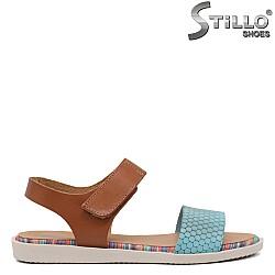 Тюркоазени сандали естествена кожа - 35233
