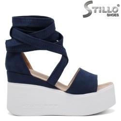 Сини сандали на платформа - 35245