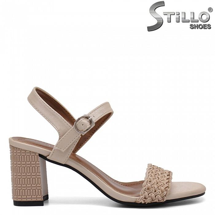 Бежови сандали с висок релефен ток - 35254