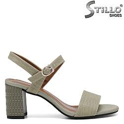 Зелени сандали на ток - 35257
