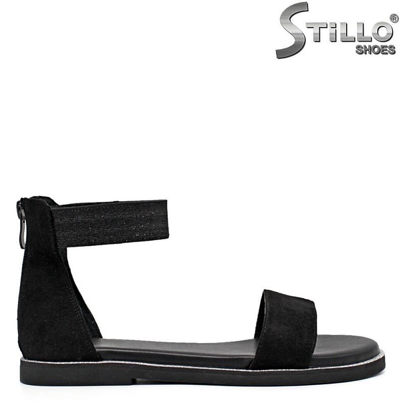 Равни велурени дамски сандали - 35305