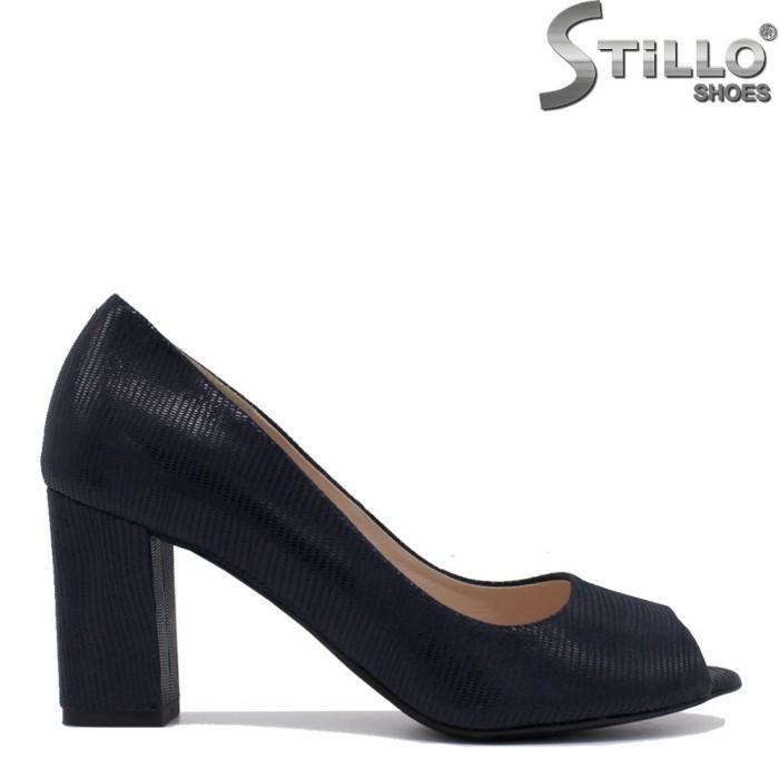 Сини отворени обувки на висок ток - 35397