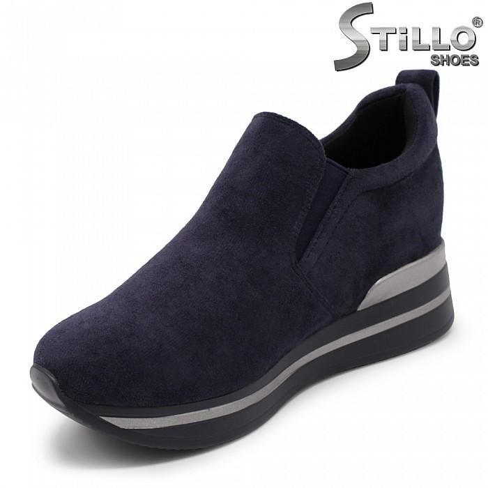 Сини спортни обувки на скрита платформа - 35455