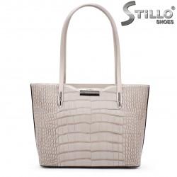 Дамска чанта в бежово-сива кожа - 35530