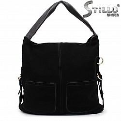 Дамска чанта с джобчета от естествен велур и кожа – 35852