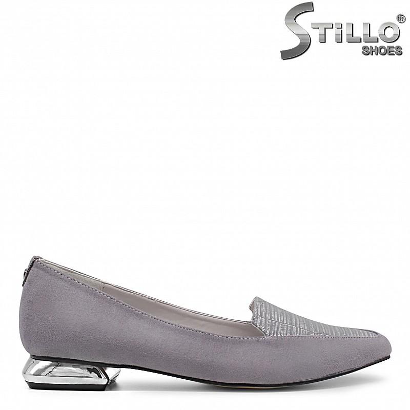 Сиви дамски обувки с нисък метален ток – 35973