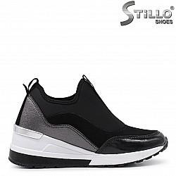 Спортни обувки на платформа от кожа и стреч – 35976