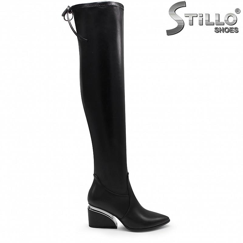 Дамски ластични чизми на среден ток – 35917