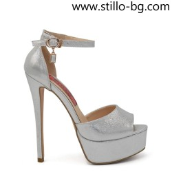 Сребристи сандали на висок ток и платформа - 28376