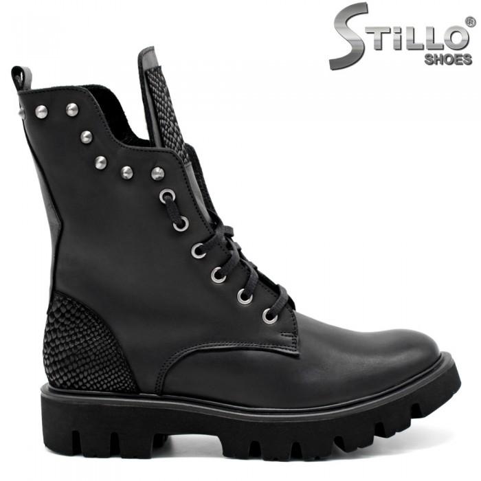 f6c85525d3b Stillo магазини за обувки, Дамски кубинки от естествена кожа с капси ...