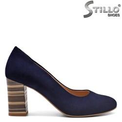 Сини велурени обувки на висок ток - 31165