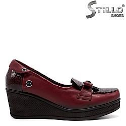 Кожени обувки в цвят бордо МАЛКИ НОМЕРА ОТ №34  - 31185